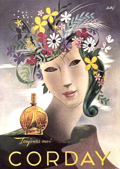 Corday Parfums Paris Toujours Moi Flower Girl   Vintage Ad and Cover Art 1891-1970