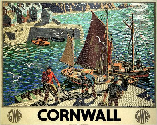 Cornwall GWR 1936 United Kingdom Lampitt | Vintage Travel Posters 1891-1970