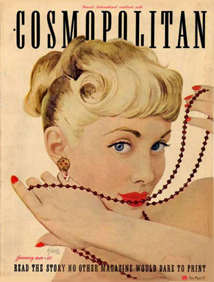 Cosmopolitan Magazine Copyright 1949 Girl With Necklace | Sex Appeal Vintage Ads and Covers 1891-1970