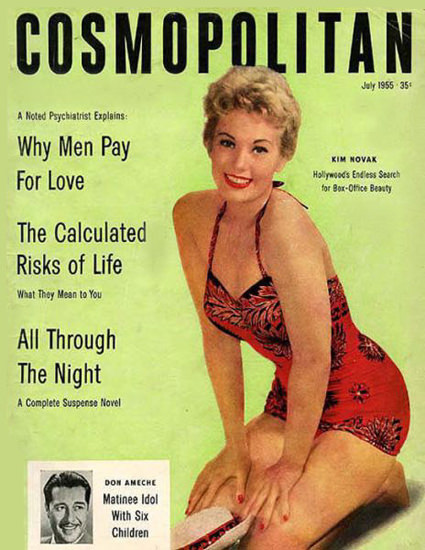 Cosmopolitan Magazine Copyright 1955 Kim Novak | Sex Appeal Vintage Ads and Covers 1891-1970