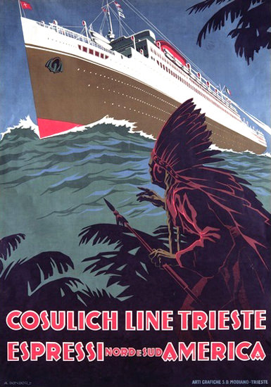 Cosulich Line Trieste Nord E Sud America Liner | Vintage Travel Posters 1891-1970