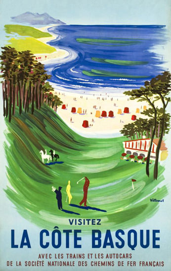 Cote Basque Le Golf 1954 Lido France | Vintage Travel Posters 1891-1970