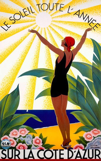 Cote D Azur Le Soleil Toute L Annee Beach Girl   Sex Appeal Vintage Ads and Covers 1891-1970