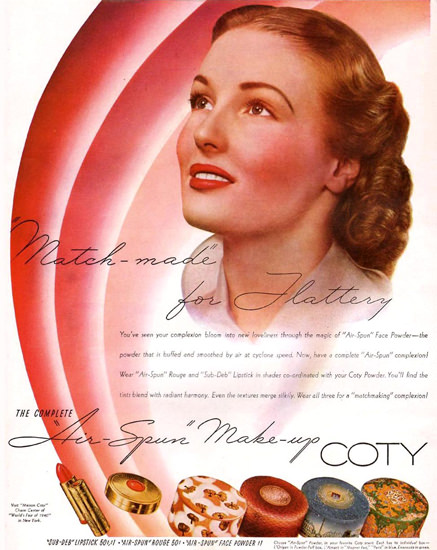 Coty Air-Spun Make-Up 1940 | Sex Appeal Vintage Ads and Covers 1891-1970