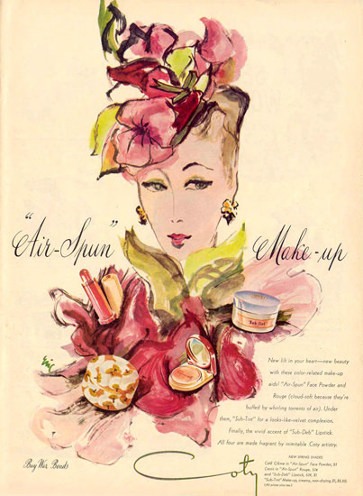 Coty Air-Spun Make-Up 1944 | Sex Appeal Vintage Ads and Covers 1891-1970