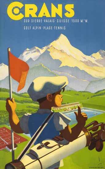 Crans Sur Sierre Crans Montana Valais Switzerland 1943 | Vintage Travel Posters 1891-1970