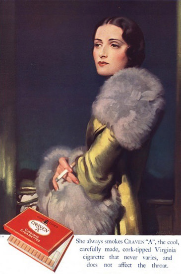 Craven A Virginia Cigarettes Lady In Fur | Sex Appeal Vintage Ads and Covers 1891-1970