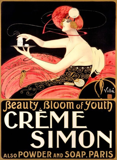 Creme Simon Beauty Bloom Of Youth Paris Art | Sex Appeal Vintage Ads and Covers 1891-1970