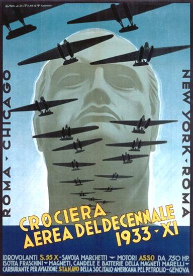 Croceria Aerea Del Decennale 1933 Roma A | Vintage Travel Posters 1891-1970