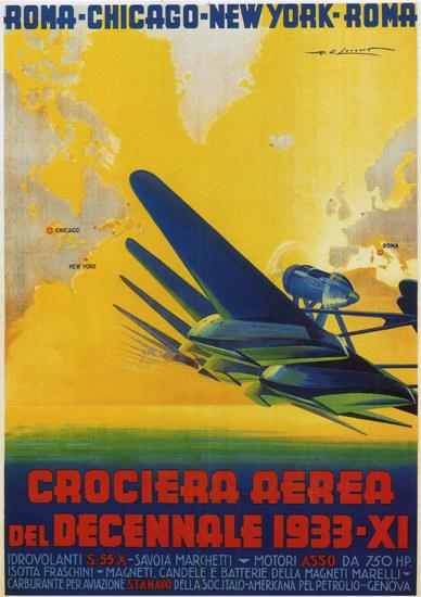 Crociera Aerea Del Decennale 1933 Roma C | Vintage Travel Posters 1891-1970
