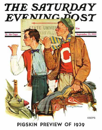 Crosby DeMoss Saturday Evening Post Hitchhiking to State U 1939_09_23 | The Saturday Evening Post Graphic Art Covers 1931-1969