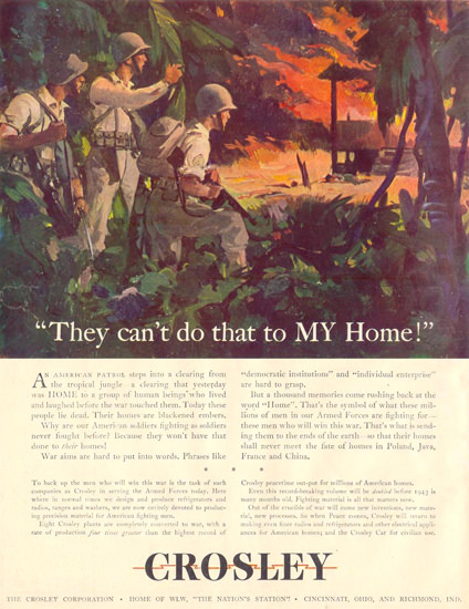 Crosley They Cant Do That To My Home 1943 | Vintage War Propaganda Posters 1891-1970