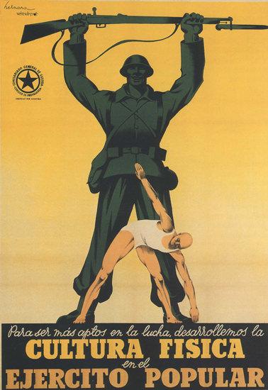 Cultura Fisica Ejercito En El Popular Spain Espana   Vintage War Propaganda Posters 1891-1970