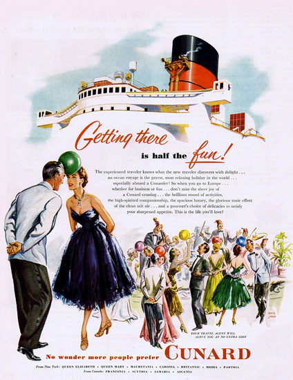 Cunard From New York Getting There Is The Fun | Vintage Travel Posters 1891-1970