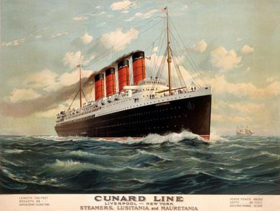 Cunard Line 1908 Steamers Lusitania Mauretania | Vintage Travel Posters 1891-1970
