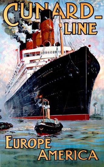 Cunard Line Europe America Passenger Liner | Vintage Travel Posters 1891-1970