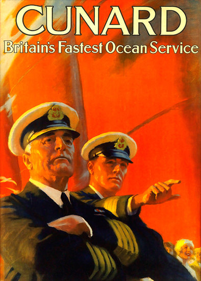 Cunard Line Fastest Ocean Service Captain | Vintage Travel Posters 1891-1970