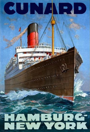 Cunard Line Hamburg New York Passenger Liner | Vintage Travel Posters 1891-1970