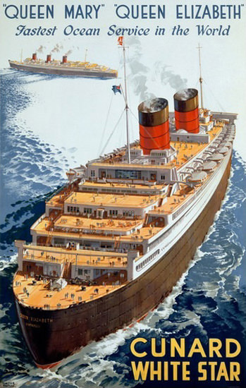 Cunard Line Queen Mary Queen Elizabeth Star | Vintage Travel Posters 1891-1970
