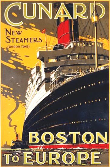 Cunard Line Steamers Boston Europe Ocean Liner | Vintage Travel Posters 1891-1970