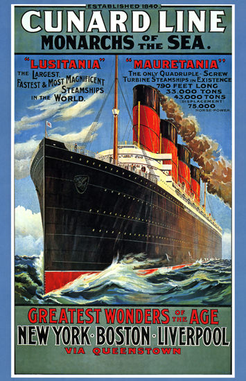 Cunard Line Wonders Of Age Steam Ship 1940 | Vintage Travel Posters 1891-1970