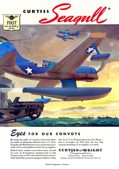 Curtiss Wright Eyes For Our Convoys | Vintage War Propaganda Posters 1891-1970