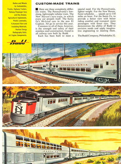 Custom-Made Trains Budd Company Philadelphia | Vintage Travel Posters 1891-1970