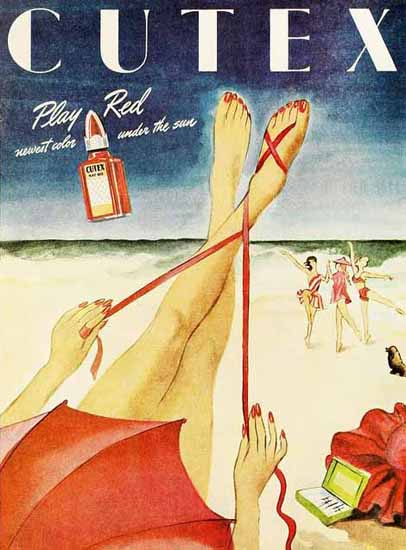 Cutex Ad Play Red Sex Appeal   Sex Appeal Vintage Ads and Covers 1891-1970