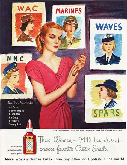 Cutex Nail Polish 1944 WAC NNC Best Dressed | Sex Appeal Vintage Ads and Covers 1891-1970