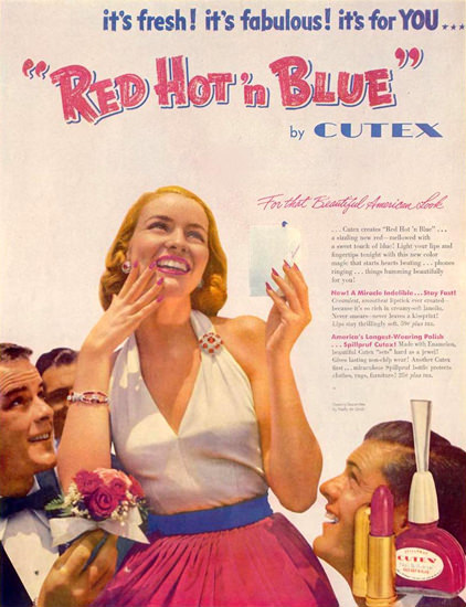 Cutex Red Hot N Blue 1952 | Sex Appeal Vintage Ads and Covers 1891-1970