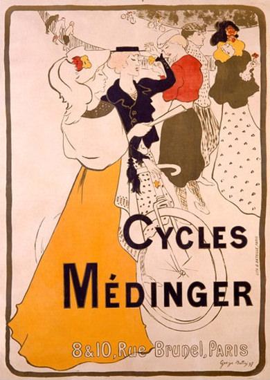 Cycles Medinger Paris Art Nouveau G A Bottini | Vintage Travel Posters 1891-1970