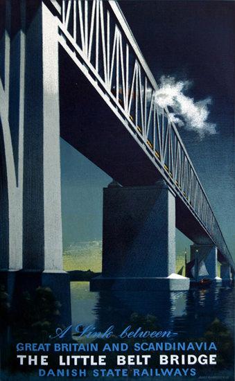 DRS Danish State Railways Little Belt Bridge   Vintage Travel Posters 1891-1970