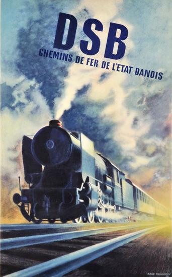 DSB Chemins de Fer de L Etat Danois 1950 | Vintage Travel Posters 1891-1970