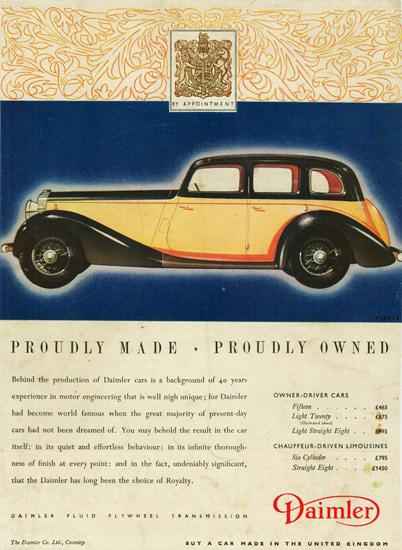 Daimler Light Twenty Saloon 1937 | Vintage Cars 1891-1970