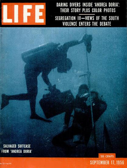 Daring Divers inside Andrea Doria 17 Sep 1956 Copyright Life Magazine | Life Magazine Color Photo Covers 1937-1970