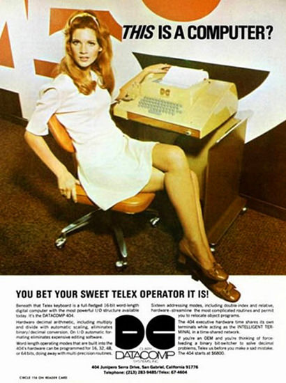 Datacomp This Is A Computer Telex Operator | Sex Appeal Vintage Ads and Covers 1891-1970