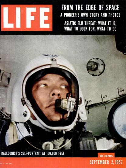 David Simons Balloon at 100000 feet 2 Sep 1957 Copyright Life Magazine | Life Magazine Color Photo Covers 1937-1970