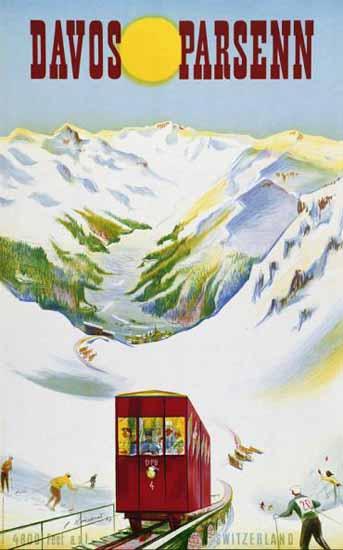 Davos Parsenn Rail Switzerland 1947 | Vintage Travel Posters 1891-1970