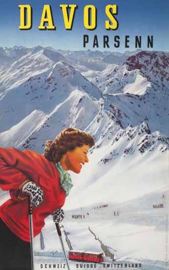 Davos Parsenn Schweiz Suisse Switzerland 1940 | Vintage Travel Posters 1891-1970