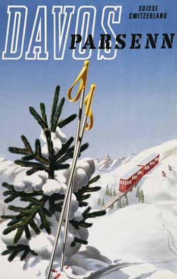 Davos Parsenn Skiing Suisse Switzerland 1949   Vintage Travel Posters 1891-1970