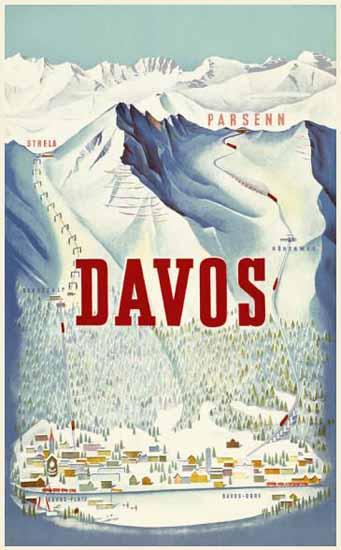 Davos Parsenn Strela Switzerland 1932 | Vintage Travel Posters 1891-1970