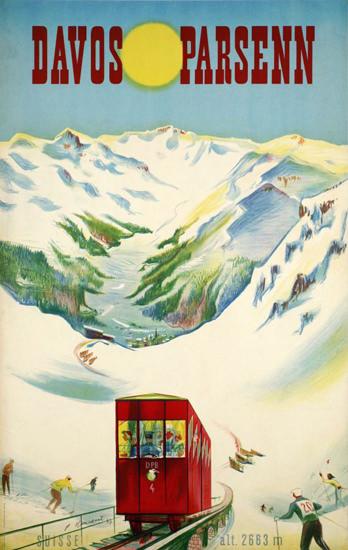 Davos Parsenn Suisse Switzerland Alps 1947   Vintage Travel Posters 1891-1970