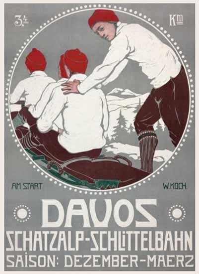 Davos Schatzalp Schlittelbahn Sledding Switzerland 1911 | Vintage Travel Posters 1891-1970