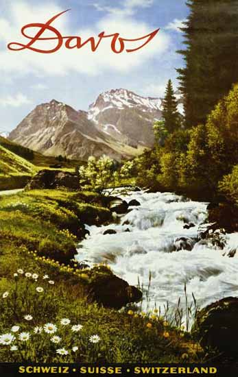 Davos Schweiz Suisse Swiss Alps Switzerland 1950 | Vintage Travel Posters 1891-1970