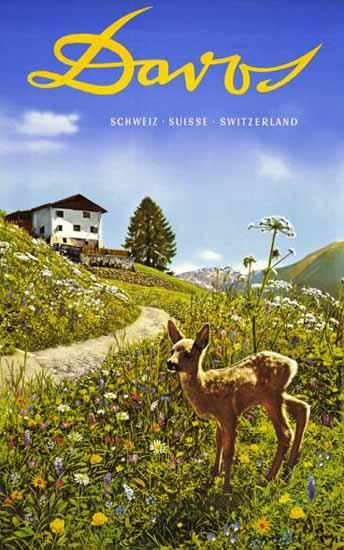 Davos Schweiz Suisse Switzerland Fawn 1935 | Vintage Travel Posters 1891-1970