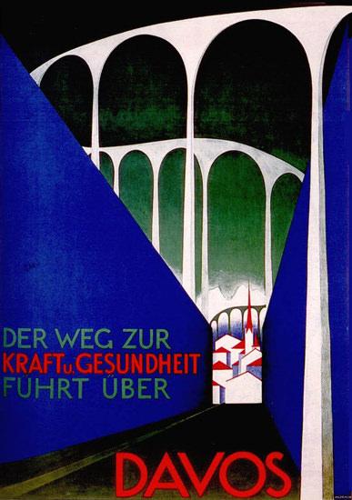 Davos Switzerland Kraft Und Gesundheit 1930   Vintage Travel Posters 1891-1970