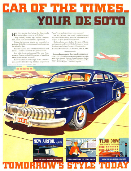 DeSoto 1942 Blue Care Of The Times Airport | Vintage Cars 1891-1970