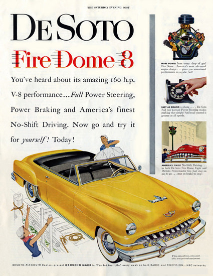 DeSoto Fire Dome 8 Groucho Marx Bet Your Life | Vintage Cars 1891-1970