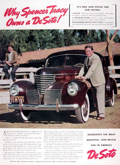 DeSoto Spencer Tracy 1939 Actor | Vintage Cars 1891-1970