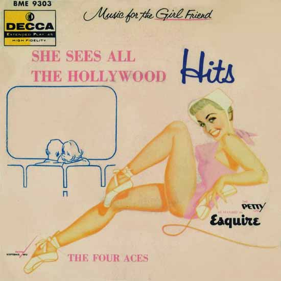 Decca LP Cover All The Hollywood Hits George Petty 1957 Sex Appeal | Sex Appeal Vintage Ads and Covers 1891-1970